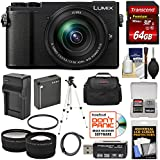 Panasonic Lumix DC-GX9 4K Wi-Fi Digital Camera & 12-60mm Lens (Black) 64GB Card + Battery & Charger + Case + Tripod + Filter + Tele/Wide Lens Kit