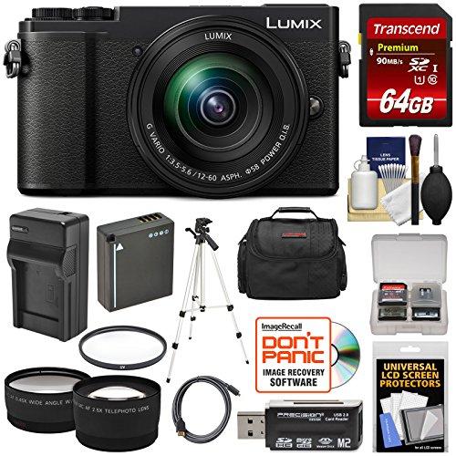 Panasonic Lumix DC-GX9 4K Wi-Fi Digital Camera & 12-60mm Lens (Black) with 64GB Card + Battery & Charger + Case + Tripod + Filter + Tele/Wide Lens - Cameras Panasonic Slr Lumix