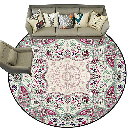 Paisley,Rugs for Living Room Geometric Ornamental Square Print Detailed Modern Stylized Image D60 Baby Crawling Area Mats