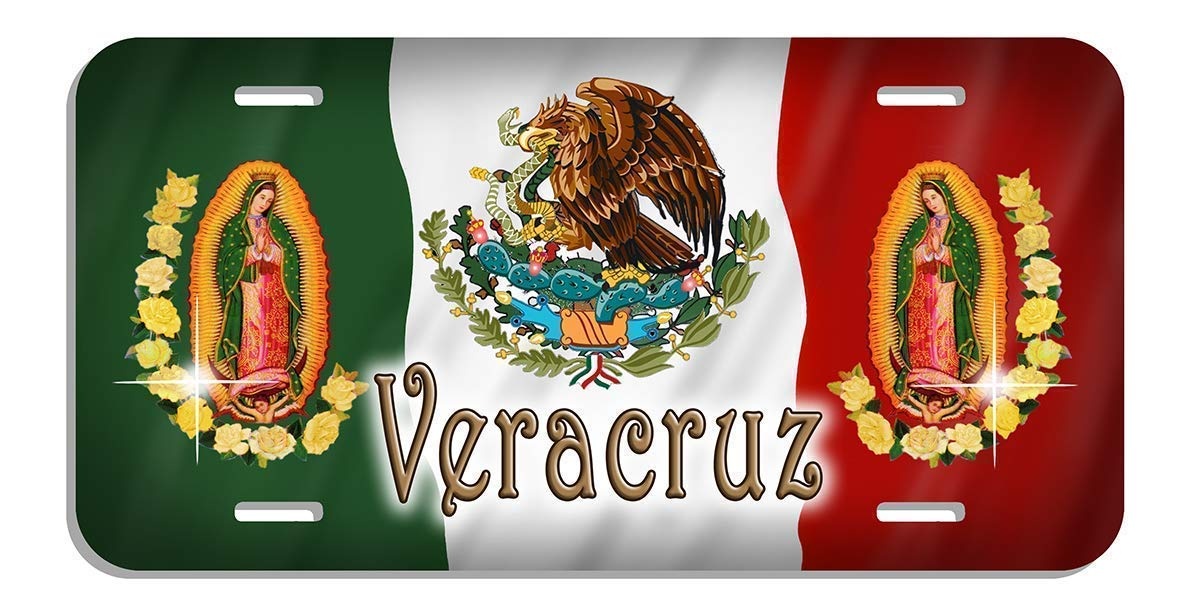 Mexico Flag Eagle Our Lady Of Guadalupe Auto License Plate Personalize Mexican Latino