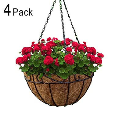 Metal Hanging Planter Basket with Coco Coir Liner 10 Inch Round Wire Plant Holder with Chain Porch Decor Flower Pots Hanger Garden Decoration Indoor Outdoor Watering Hanging Baskets