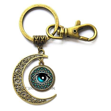 Amazon.com: Llavero de luna con ojo verde, llavero con ojo ...