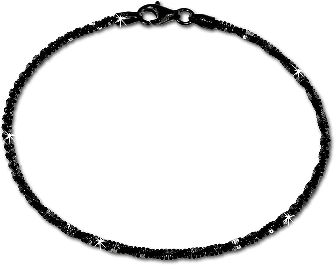 SilberDream Pulsera de 925er esterlina plateado–bicolour señorías trenzado Pulsera Negro 19cm–SDA2059S