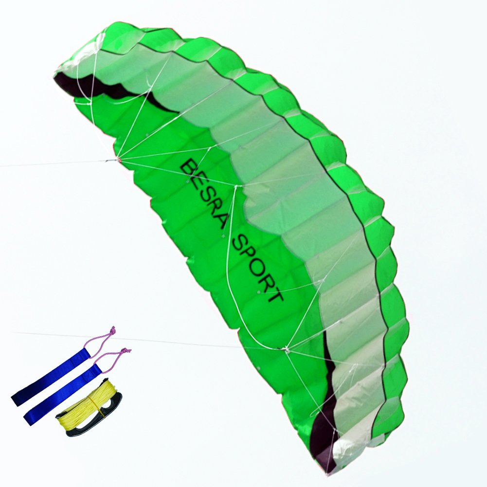 Besra Huge 102inch Dual Line Parachute Stunt Kite with Flying Tools 2.6m Power Parafoil Kitesurfing Training Kites Outdoor Fun Sports for Beach (102inch Green) by Besra