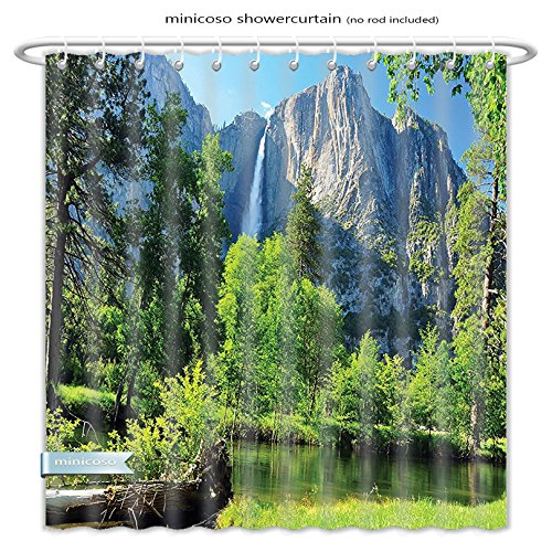 Minicoso Shower Curtains Apartment Decor Collection Upper Yosemite Falls Cliff Yosemite National Park California Panoramic Picture Green Olive Polyester Fabric For Bathroom Size-66
