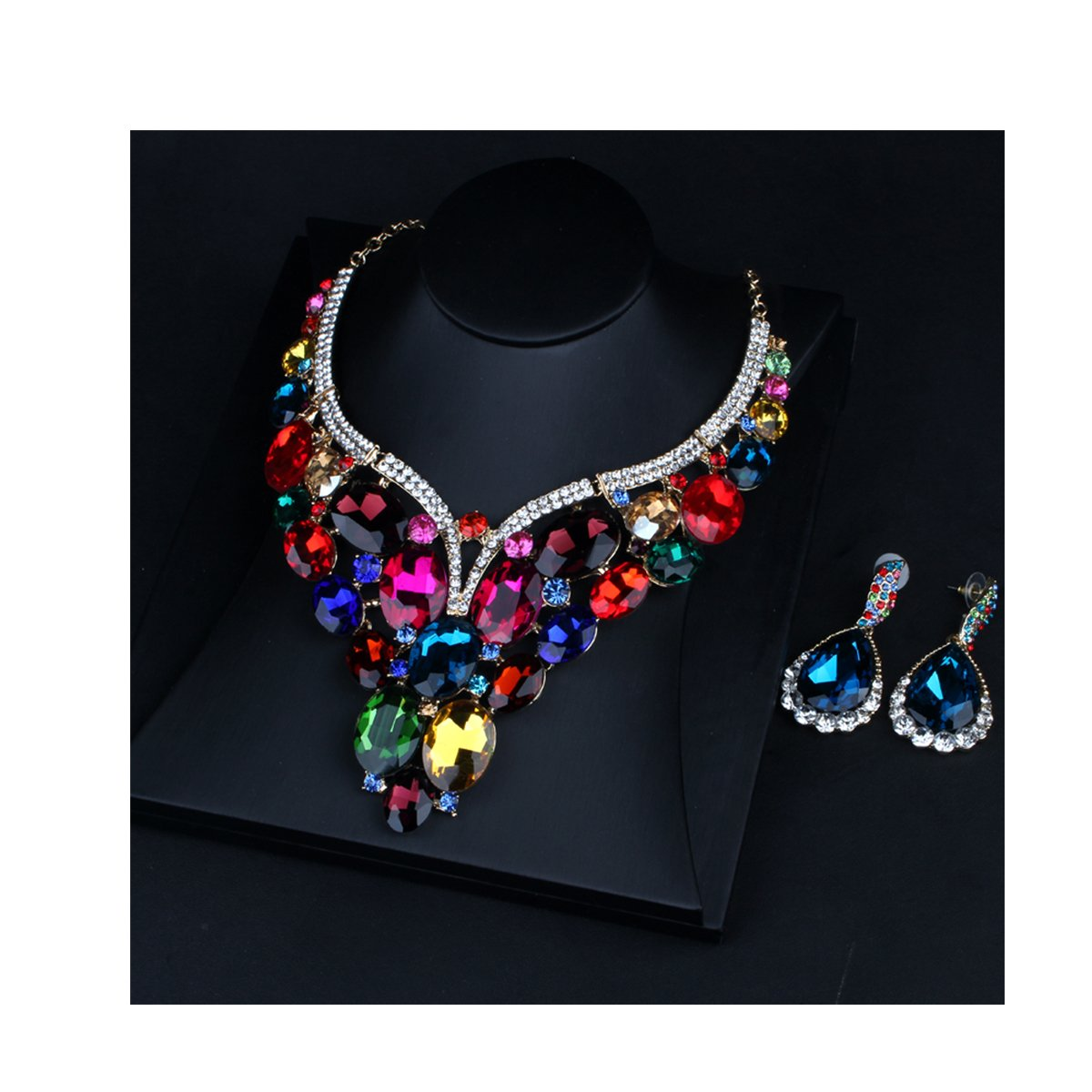 ENUUNO Costume jewelry Multi-color Crystal Choker Pendant Statement Charm Necklace and Earrings Sets Women (Multi-color, alloy)