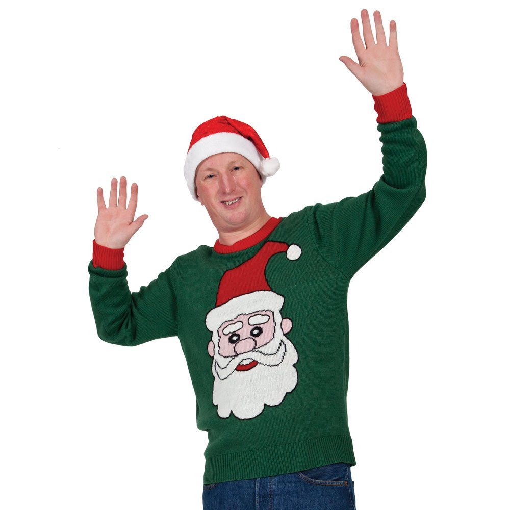(M) Green Santa Jumper M Adults Cheesy Christmas Jumpers for Ladies & Mens Xmas Gifts Stocking Fillers Party fashion wicked