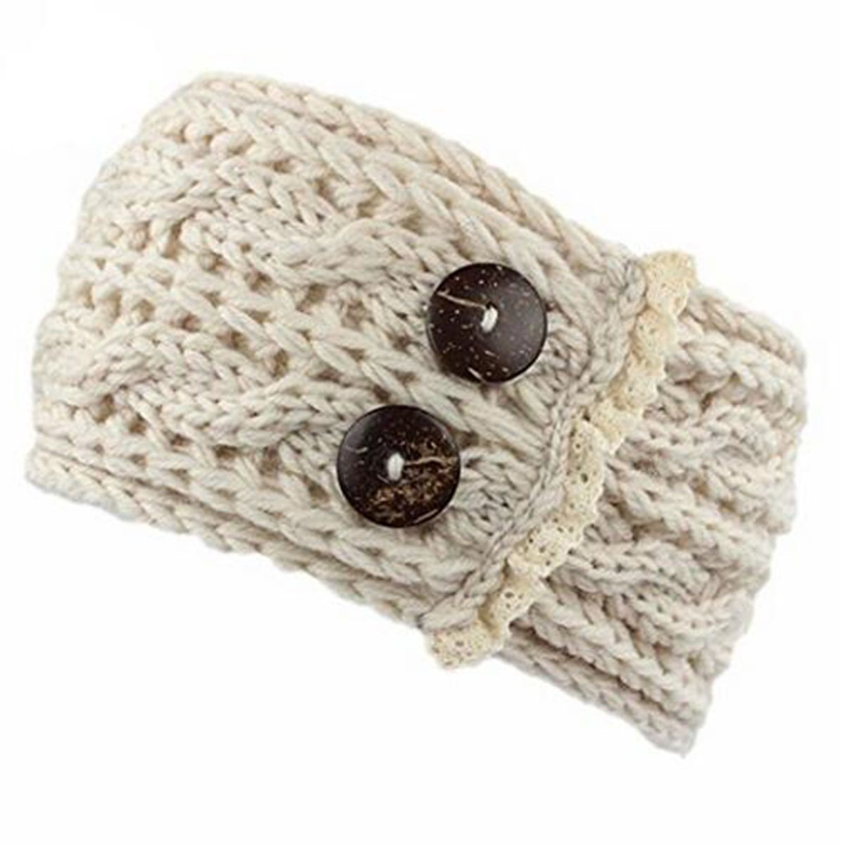 Crochet Hiver Chaud Femme Bandeau boutons tissé tricot cache-oreilles 383614Bandeau cheveux bandeaux cheveux accessoires beige Tukistore