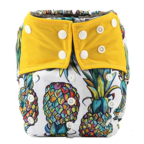 Sigzagor AIll in One Night AIO Cloth Diaper Nappy Sewn in Charcoal Bamboo Insert Reusable Washable (Pineapple)