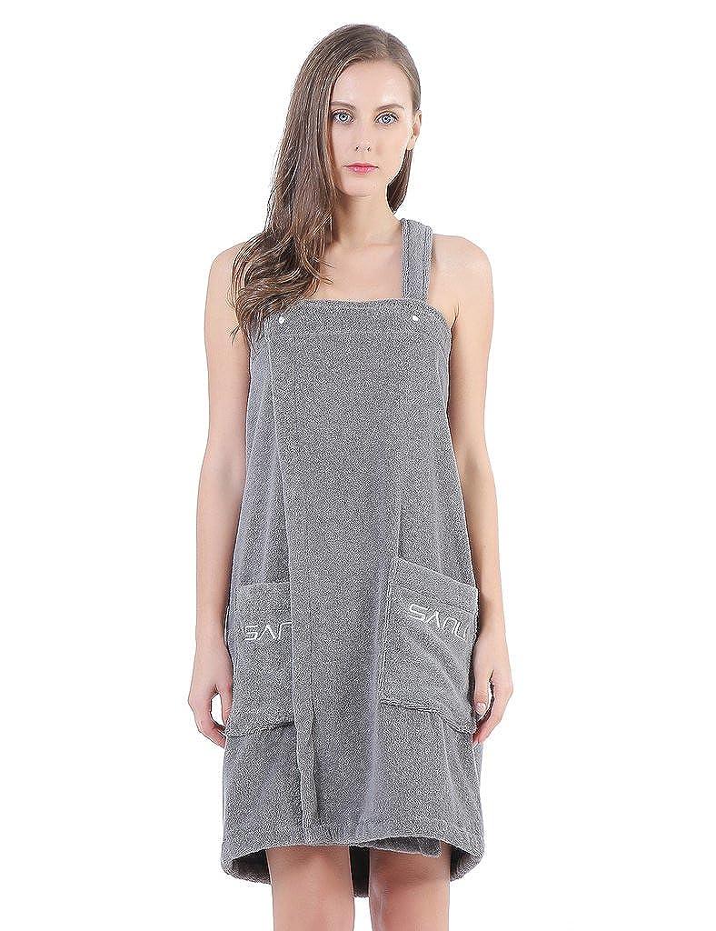 Women Spa Bath Towel Wrap, Shower Robe - Plush Soft Cotton Bathrobe,XL Gray SANLI