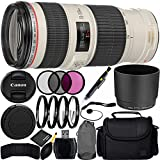 Canon EF 70-200mm f/4L IS USM Lens Bundle with Manufacturer Accessories & Accessory Kit for EOS 7D Mark II, 6D Mark II, 5D Mark IV, 5D S R, 5D S, 5D Mark III, 80D, 70D, 77D, T5, T6, T6s, T7i, SL2
