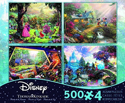 Thomas Kinkade - The Disney Collection 4 in 1 Multi-Pack, 500 Pieces Each Puzzle (Sleeping Beauty, Mickey & Minnie Mouse, Snow White & Seven Dwarfs,