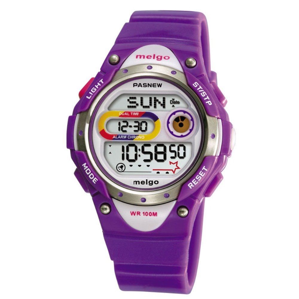 Jewtme LED Waterproof 100m Sports Digital Watch for Children Girls Boys with Three Alarms (Purple) by Jewtme