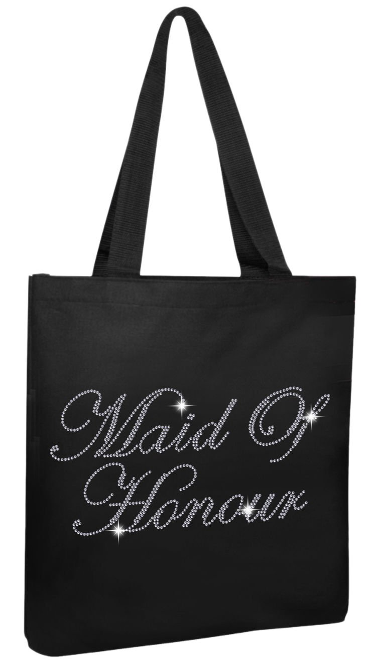 Varsany Black Maid Of Honour Luxury Crystal Bride Tote bag wedding party gift bag Cotton
