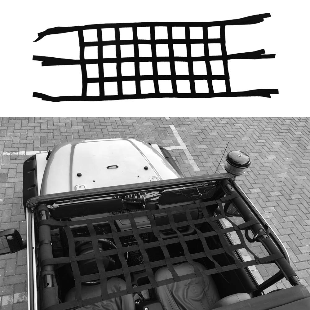 Micephon Cargo Net for Jeep Wrangler JK TJ 2007-2016 Rear and Top Storage Restraint for Passengers Pets MIC-CN1