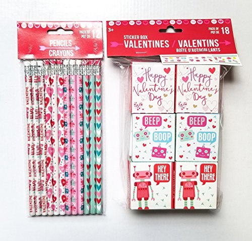 Conversation Heart Pencils (Happy Valentine's Day Gifts for Kids - 12 Wooden #2 Pencils and 18 Valentine's Sticker Boxes (Robots & Hearts))