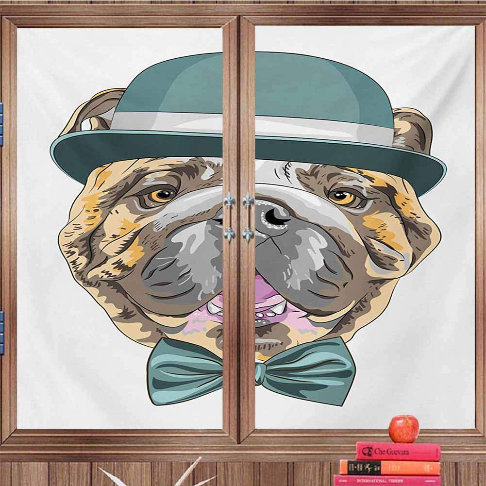 DearestLove Self-Adhesive Privacy Glass Window Film English Bulldog,Dog in a Hat and Bow Tie Animal Design with Formal Attire Pure Breed,Teal Brown Pink UV Protection, Energy SavingW36 xH79