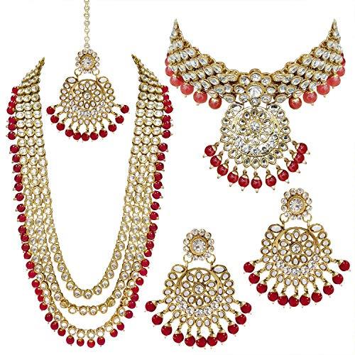 I Jewels Indian Wedding Kundan Beaded Bridal Long Necklace Choker Earrings with Maang Tikka Traditional Jewelry Set for Women (IJ325R)
