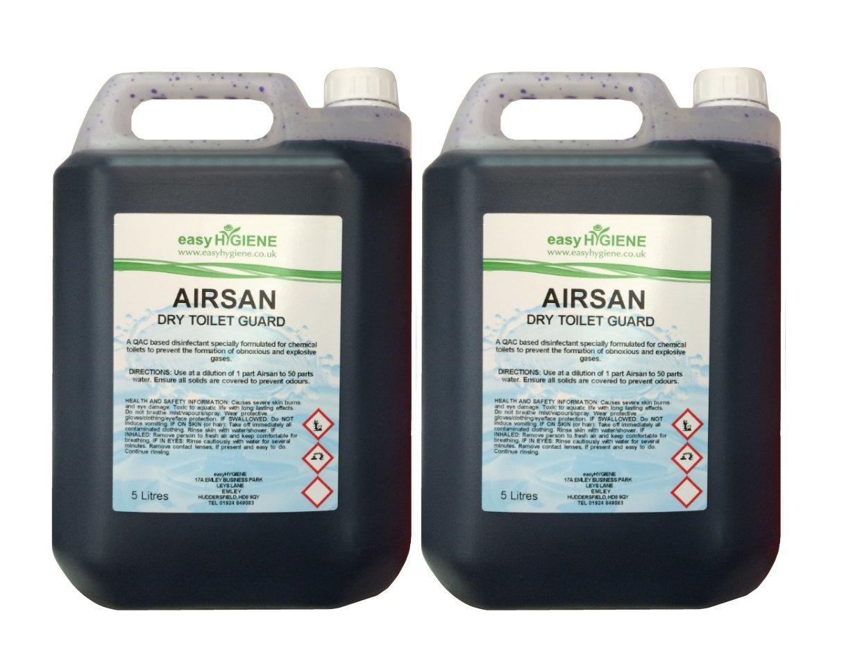 BLUE AirSAN 10L CHEMICAL TOILET fluid Cleaner FLUSH Portaloo boat caravan wc easy HYGIENE