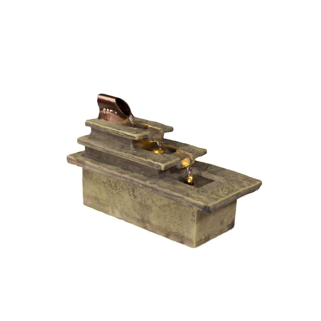 Sunnydaze Cascading Tri-Step Tabletop Fountain with LED Light, 5.5-Inch Sunnydaze Decor