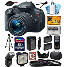 Canon EOS Rebel T5i (700D) Digital SLR with 18-55mm STM Lens includes 32GB Memory + Large Case + Tripod + Flash + LED Video Light + Two Extra Batteries + Travel Charger + Lens Hood + UV-CPL-FL Filters + Photography DVD Guide + Shutter Remote Control + Dust Blower + Cleaning Kit + $50 Gift Card (32GB Exclusive Bundle) 8595B003