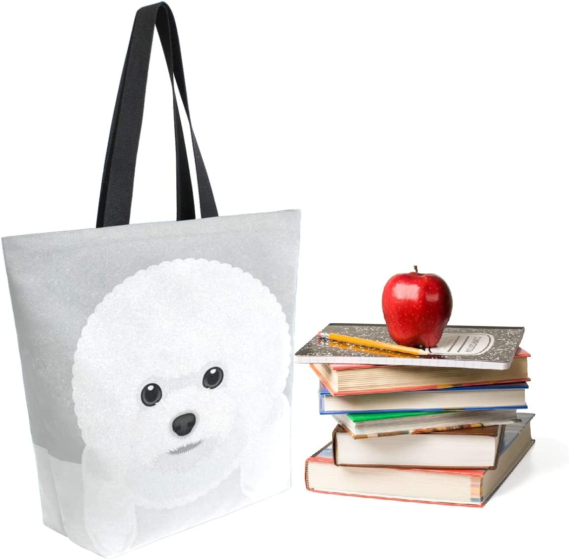 ZzWwR Cute Bichon Frise Dog Extra Large Canvas Shoulder Tote Top Storage Handle Bag for Gym Beach Weekender Travel Shopping
