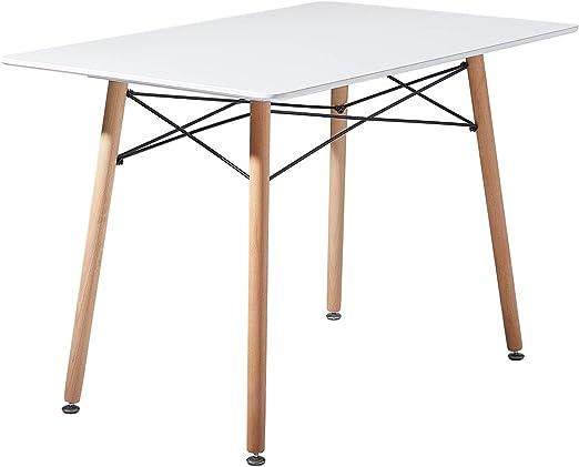 setsail Weiß Esszimmertisch Skandinavisch Esstisch Buchenholz Küchentisch MDF Rechteckig Stahlrahmen 110 x 70 x 73 cm