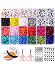 24 Styles 3mm Bracelet Making Kit Clay Beads Letter Beads Clay Beads Kit with Elastic Cord Glass Seed Beads Storage Box Scissors DIY Clay Beads for Jewelry Making Bracelet Making Kit for Girls