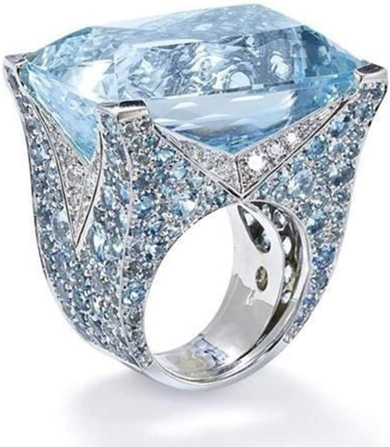 2019 New Exquisite Ring Sea Blue Sapphire Diamond Jewelry Cocktail Party Bridal Engagemen Valentines Day Gifts for Girlfriend Boyfriend