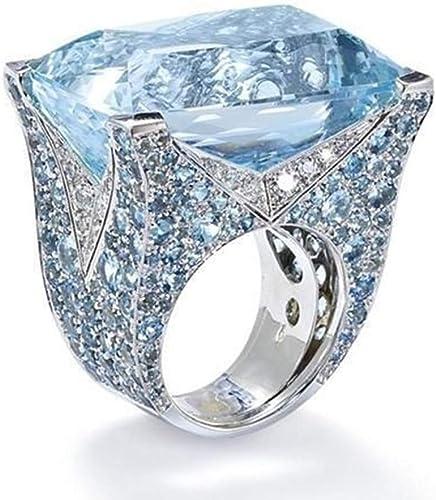 Sunyastor Luxury Women S Big Square Ruby Blue Diamond Wedding Ring