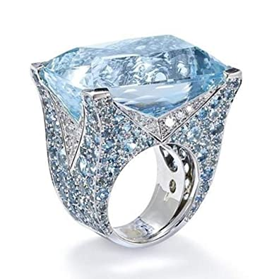 Diamond Wedding Rings.Amazon Com Sunyastor Luxury Women S Big Square Ruby Blue Diamond
