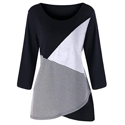 f44df936d2bcd3 Amazon.com: BeautyVan Plus Size Womens Clothing,Girls Fall Stripe Color  Block Long Sleeve Blouses Casual Tops (M, Blackc): Kitchen & Dining