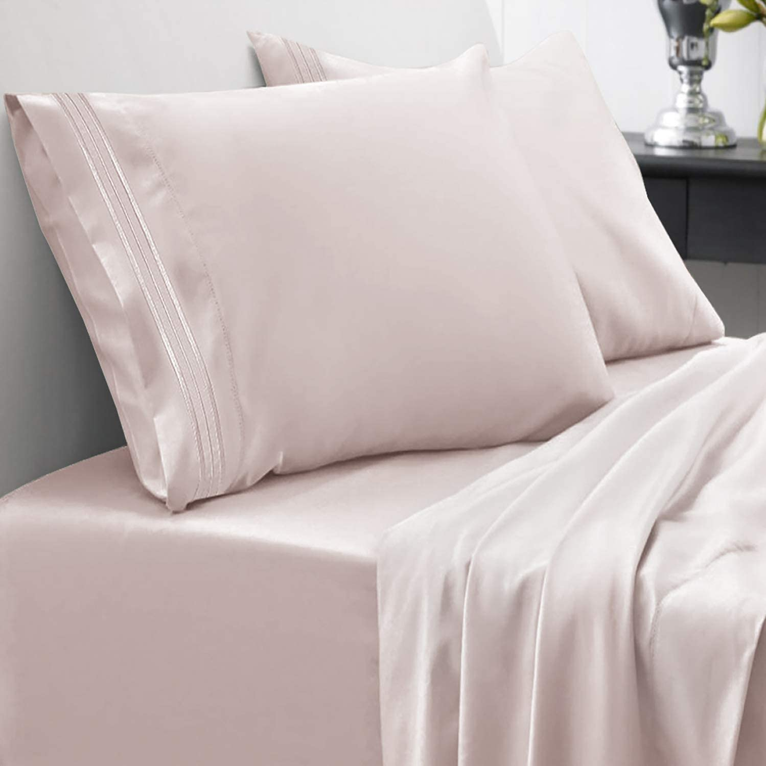 Sweet Home Collection 1800 Thread Count Soft Egyptian Quality Brushed Microfiber Hypoallergenic Luxury Bedding Set with Flat, Fitted Sheet, 2 Pillow Cases, Twin, Beige