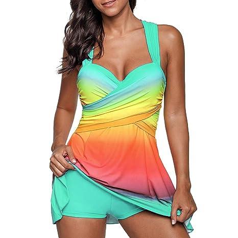 2ST Mujer arco iris traje de baño Mujer Swimsuit Mujer atractivo ...