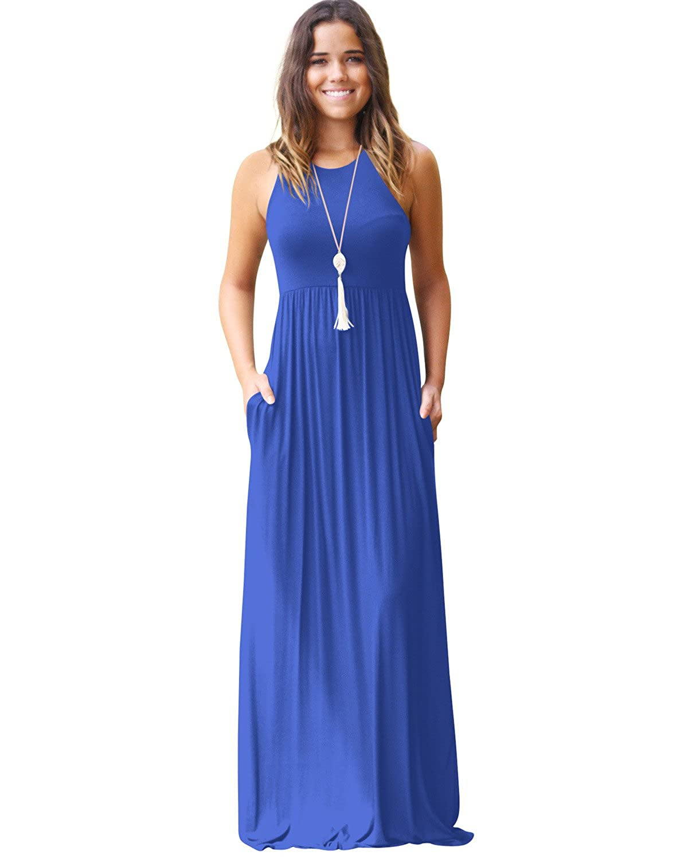 bluee LesViden Alickson Fashion Women's Halter Sleeveless Maxi Dress Casual Long Skirts Pockets