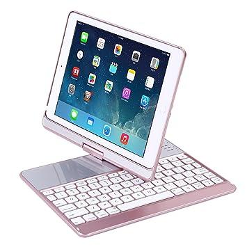Funda para Teclado inalámbrico Bluetooth de 9,7 Pulgadas iPad Smart Ultra Slim 360 Grados Giratorio con Chip Broadcom Compatible con iPad 5/6/PRO9.7 iPad ...