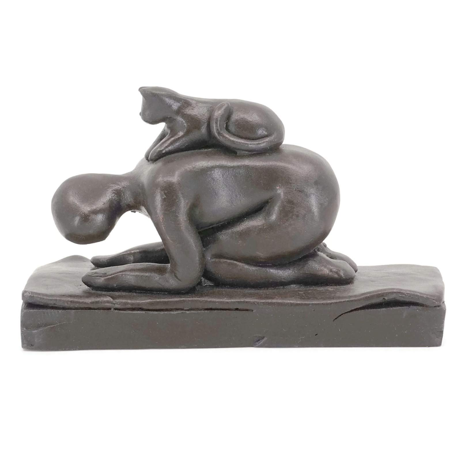 Yoga Sculpture with Funny Cat, Cat-Assisted Child's Pose, Handmade Cast-Stone in Gift Box