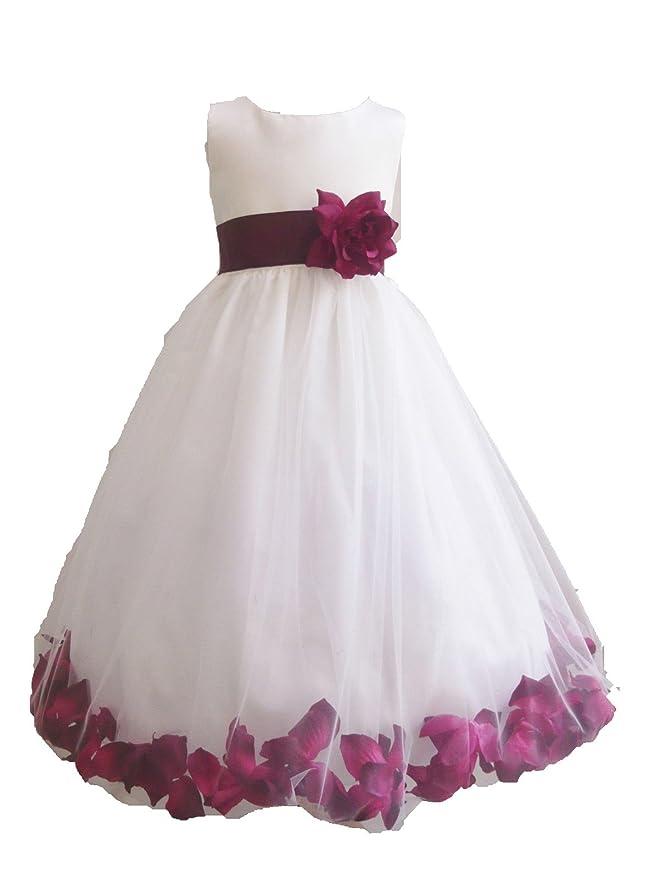 87d47c1212e Amazon.com  HMF White burgundy maroon Flower Girl Dress with Loose burgundy  maroon Petal  Clothing