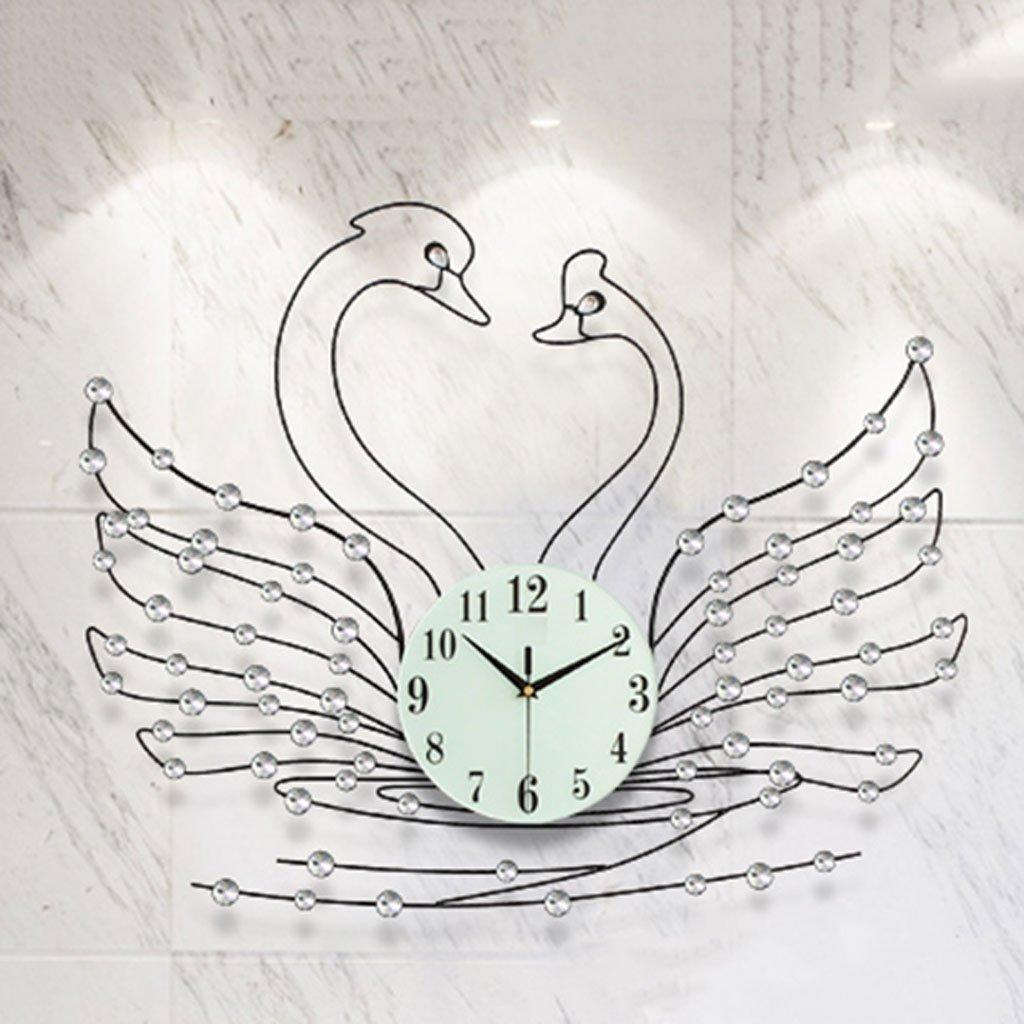 ヨーロッパ人格クォーツ時計ベッドルームミュートアートウォールチャート中国のクリエイティブ時計居間近代的なミニマルウォールクロック (色 : ブラック) B07CYWQ97X ブラック ブラック