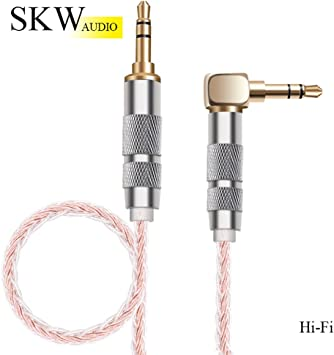 Hi-Fi Sound 1.64ft//0.5M,Pink ,3.5 mm to 3.5 mm Aux Cord//Stereo Audio Cable//Audio Jack Cable//Headphone Cable for Home Stereo,iPhone,iPod,IPad,Echo Dot,Sony /& More SKW Aux Cable for Car