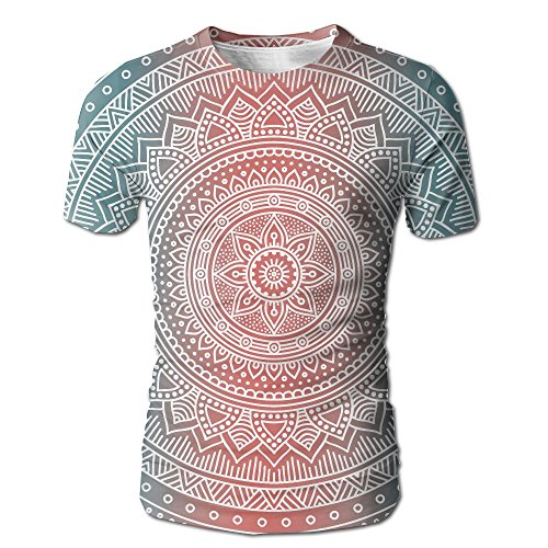 JeanCo Mens Ombre Mandala Art Antique Gypsy Stylized Folk Pattern Mystical Cosmos Particular Tees White - White Suspenders Party City