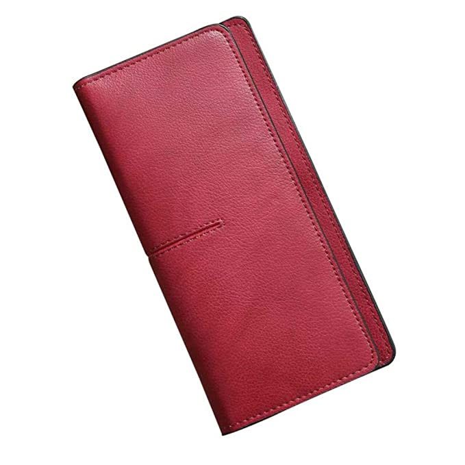 Female Soft Leather Wallets Women Simple Hasp Long Wallets Coin Purse Card Holders at Amazon Womens Clothing store:
