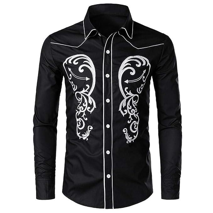Amazon.com: Sumen - Camisa vaquera de manga larga para ...