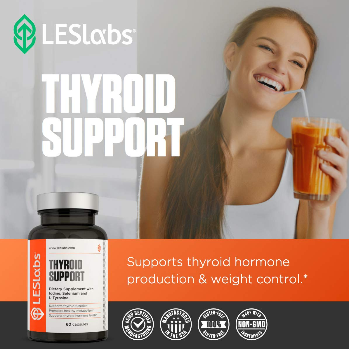 LES Labs Thyroid Support, Natural Supplement for Thyroid Health, Metabolism & Thyroid Hormone Levels, 60 Capsules