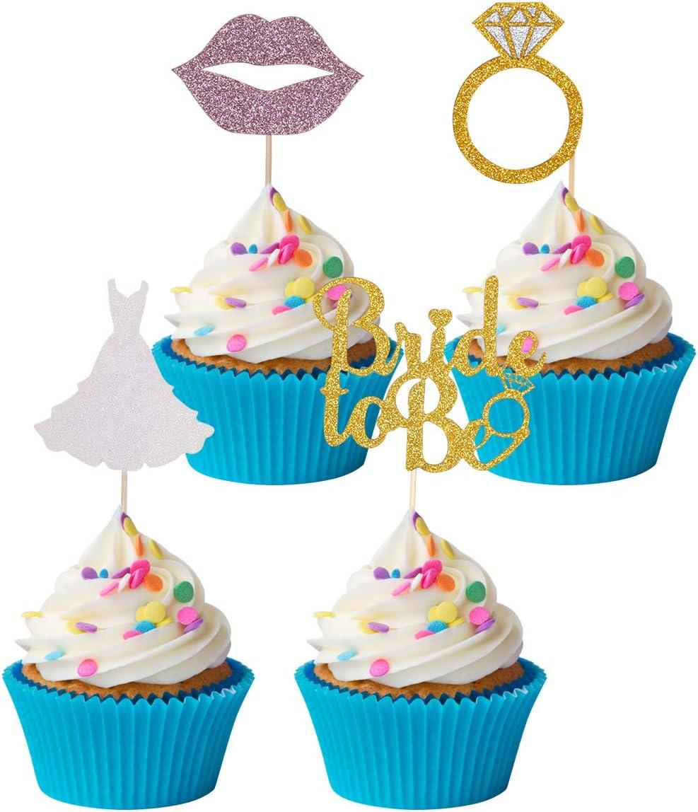 24Pcs Glittery Bachelorette Party Cupcake Topper Decor-Bride To Be Diamond Ring Lip Wedding Dress-Bachelorette Party Wedding Engagement Bridal Shower Party Decorations