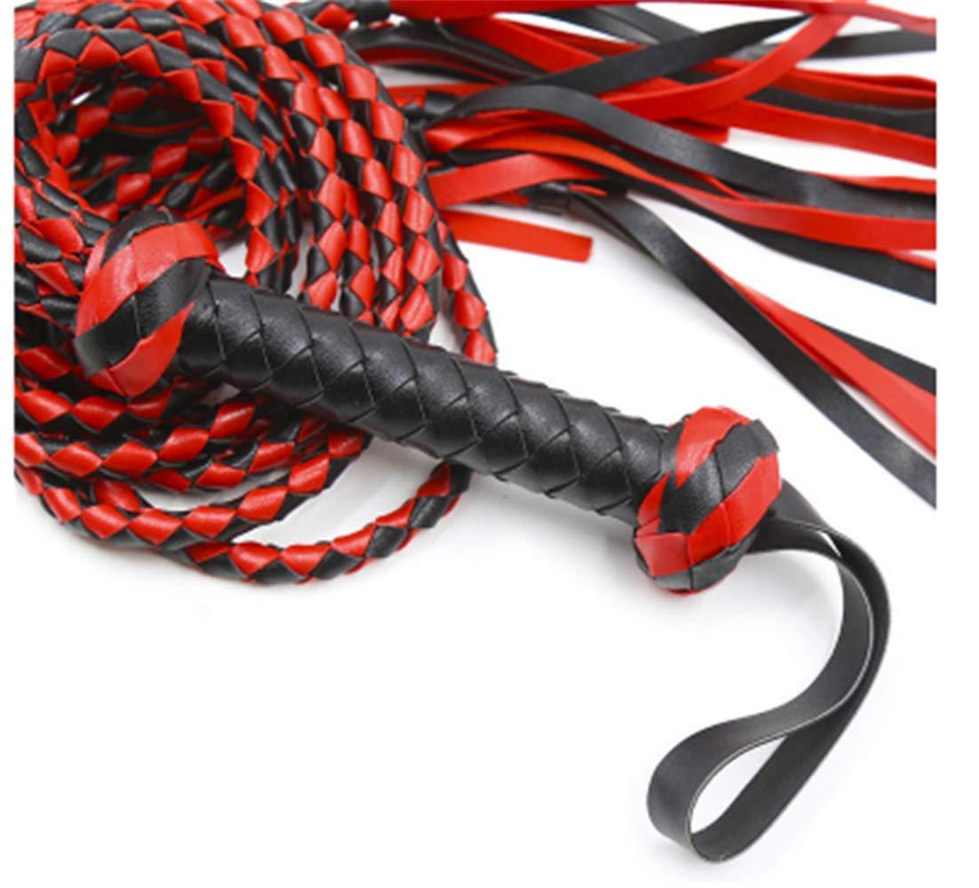 Pbrlg Fouet /équitation en Cuir pour Cheval Noir et Rouge