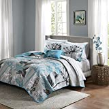 8 Piece Queen, Dramatic Style Modern Geometric Floral Pattern Coverlet Set, Casual French Country Printed Textured Design, Antique Garden Look Theme, Gorgeous Bedding, Adorable Aqua, Grey Color Unisex