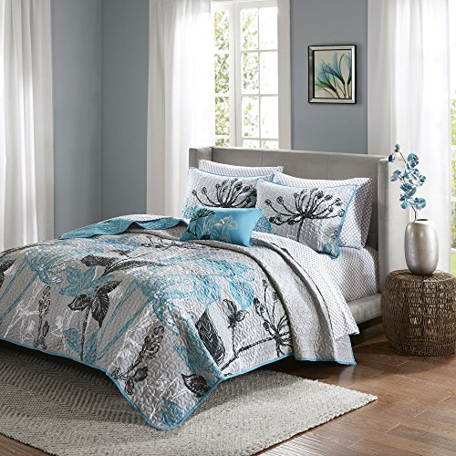 8 Piece Queen, Dramatic Style Modern Geometric Floral Pattern Coverlet Set, Casual French Country Printed Textured Design, Antique Garden Look Theme, Gorgeous Bedding, Adorable Aqua, Grey Color Unisex by AF ULTRA