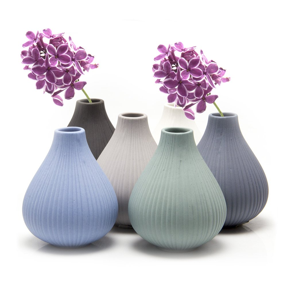 Chive - Frost, Round Clay Pottery Flower Vase, Decorative Vase for Home Decor Living Room Office and Place Settings - Bulk Set of 6 in Black, Grey, Green, Blue, White
