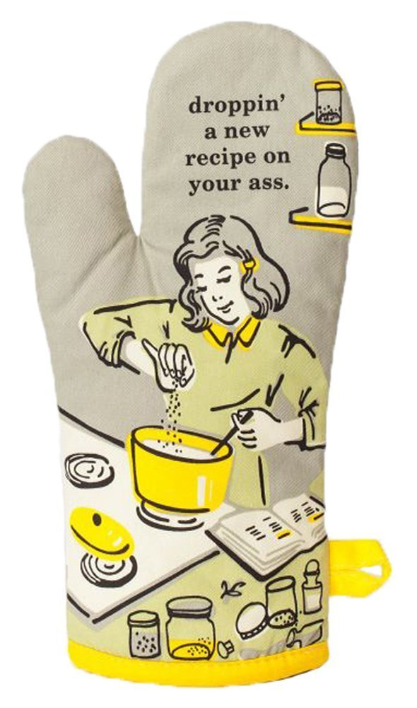 "Blue Q Oven Mitt ""Droppin' a New Recipe"", Grey/Yellow, One Size"